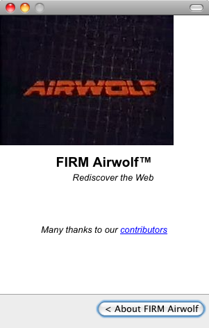 About screen for FIRM Airwolf